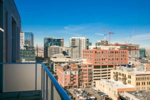 A terrace view of Downtown Denver