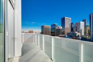 A long terrace overlooking downtown Denver
