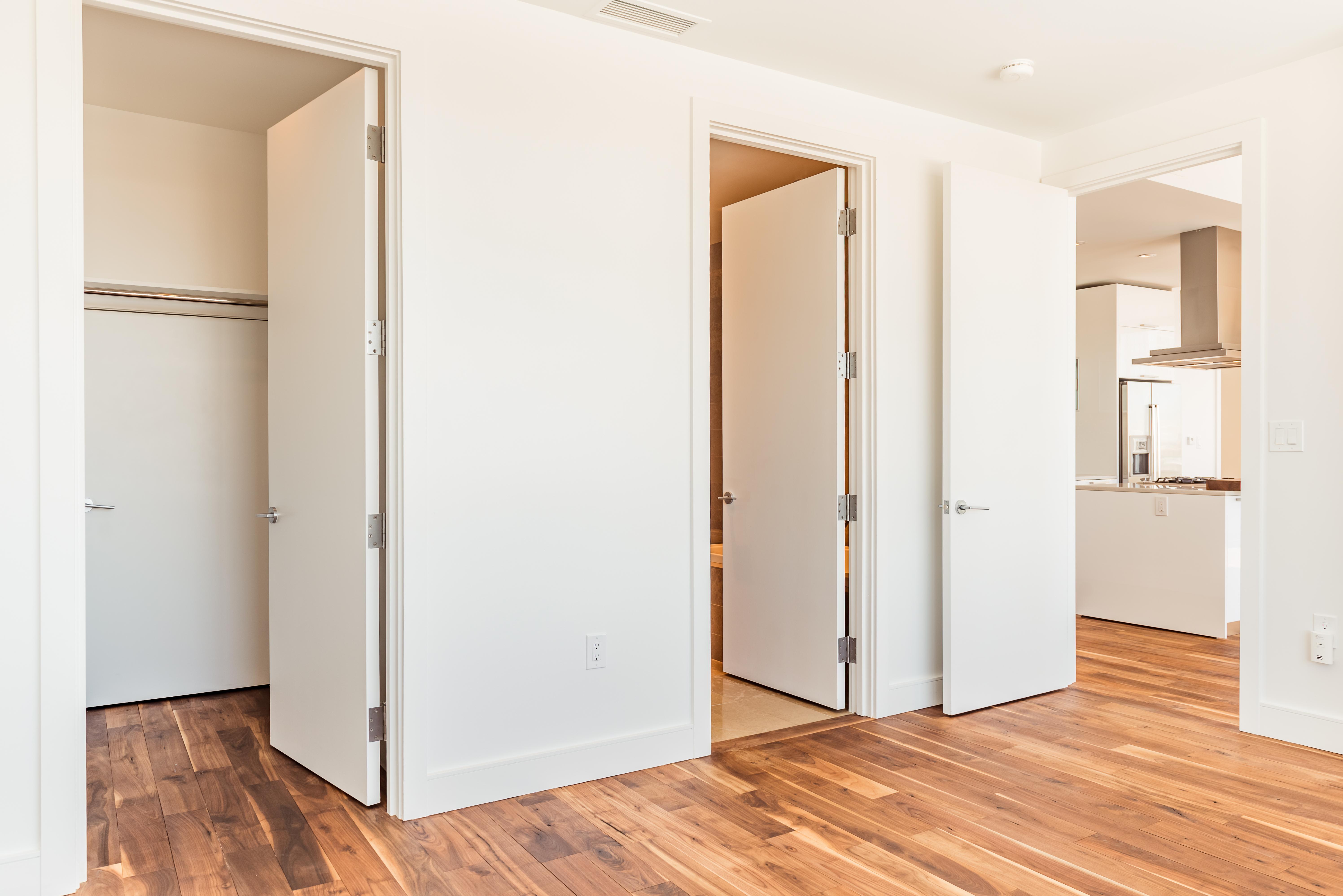 bathroom and closet doors from bedroom
