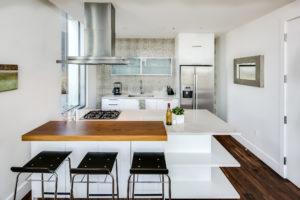 A modern minimalist kitchen and stove