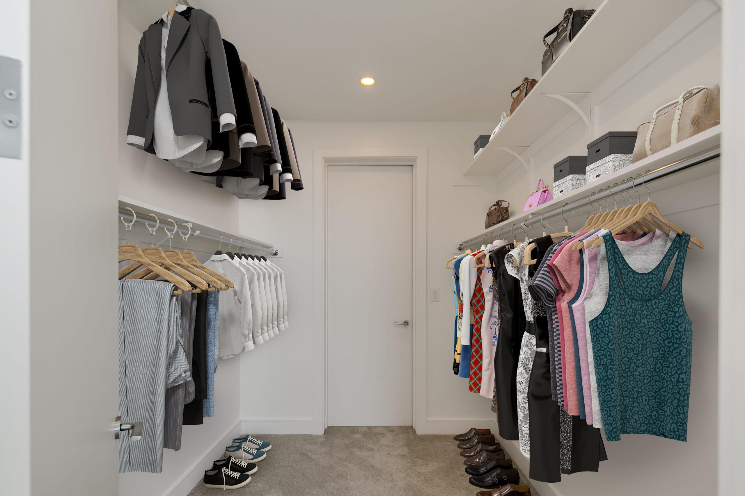 A photo of a walk-in closet