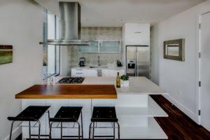 A modern, angular kitchen