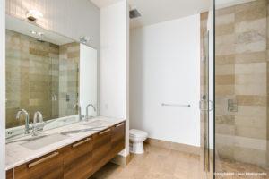 A tiled bathroom sink at 1555 Blake Street