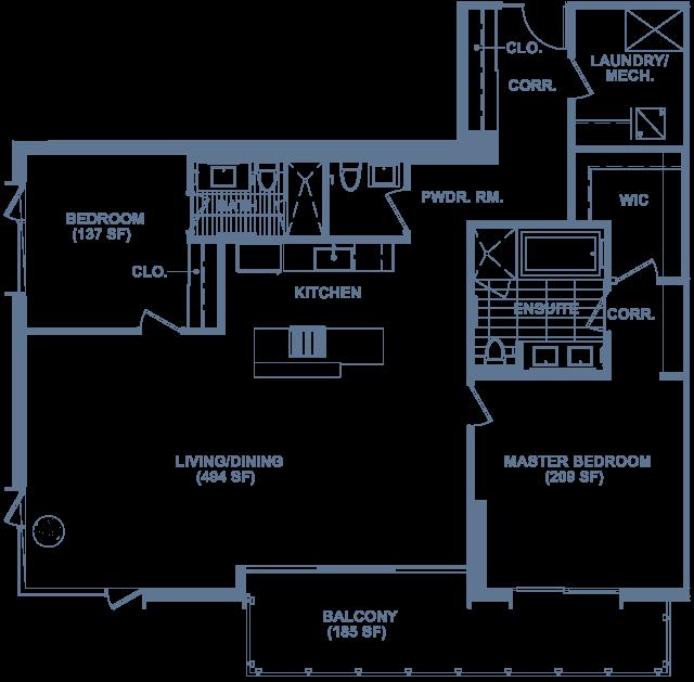 Unit 708 floorplan at SugarCube